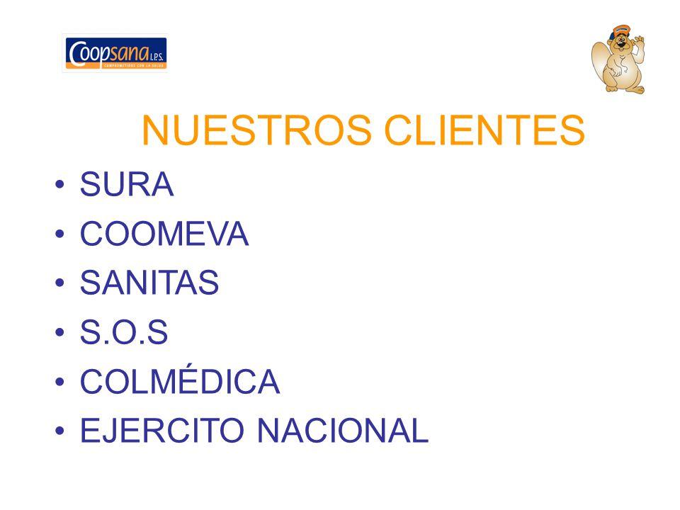 NUESTROS CLIENTES SURA COOMEVA SANITAS S.O.S COLMÉDICA EJERCITO NACIONAL