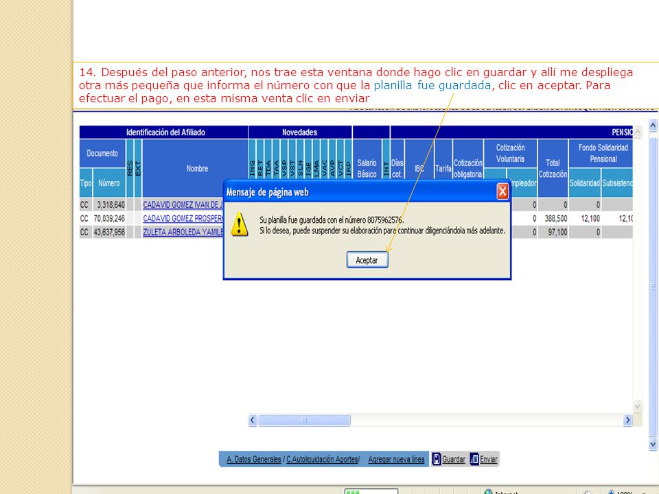13. Continuación de la anterior. Después de ingresar los datos al final de la ventana clic en actualizar línea.