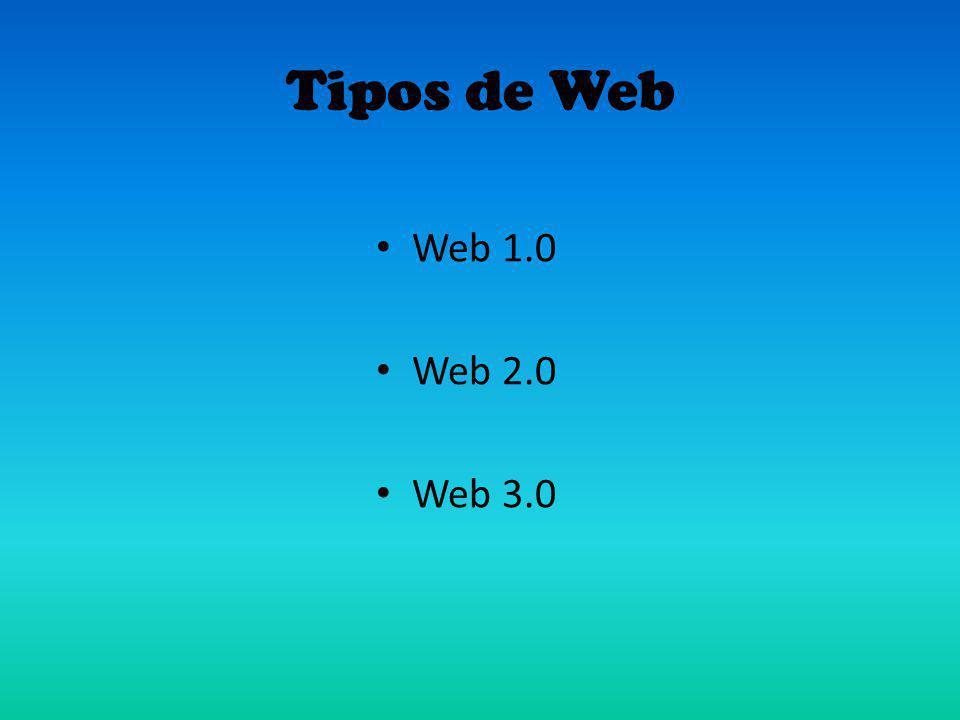 Tipos de Web Web 1.0 Web 2.0 Web 3.0