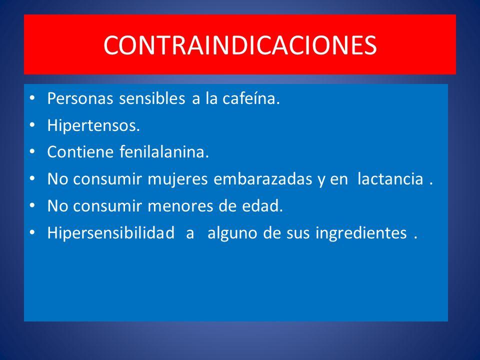 CONTRAINDICACIONES Personas sensibles a la cafeína.