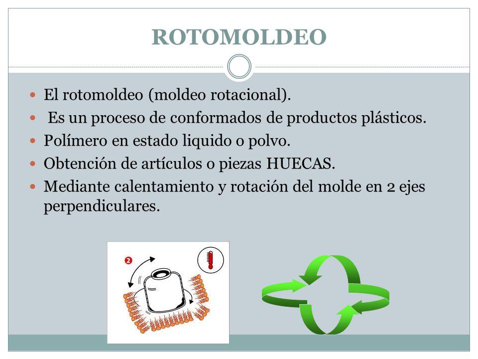 El rotomoldeo (moldeo rotacional). Es un proceso de conformados de productos plásticos. Polímero en estado liquido o polvo. Obtención de artículos o p