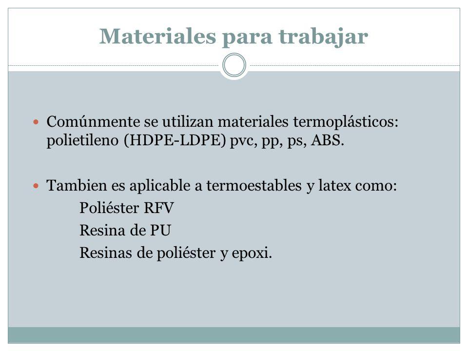Materiales para trabajar Comúnmente se utilizan materiales termoplásticos: polietileno (HDPE-LDPE) pvc, pp, ps, ABS. Tambien es aplicable a termoestab