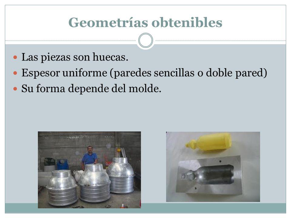 Geometrías obtenibles Las piezas son huecas. Espesor uniforme (paredes sencillas o doble pared) Su forma depende del molde.