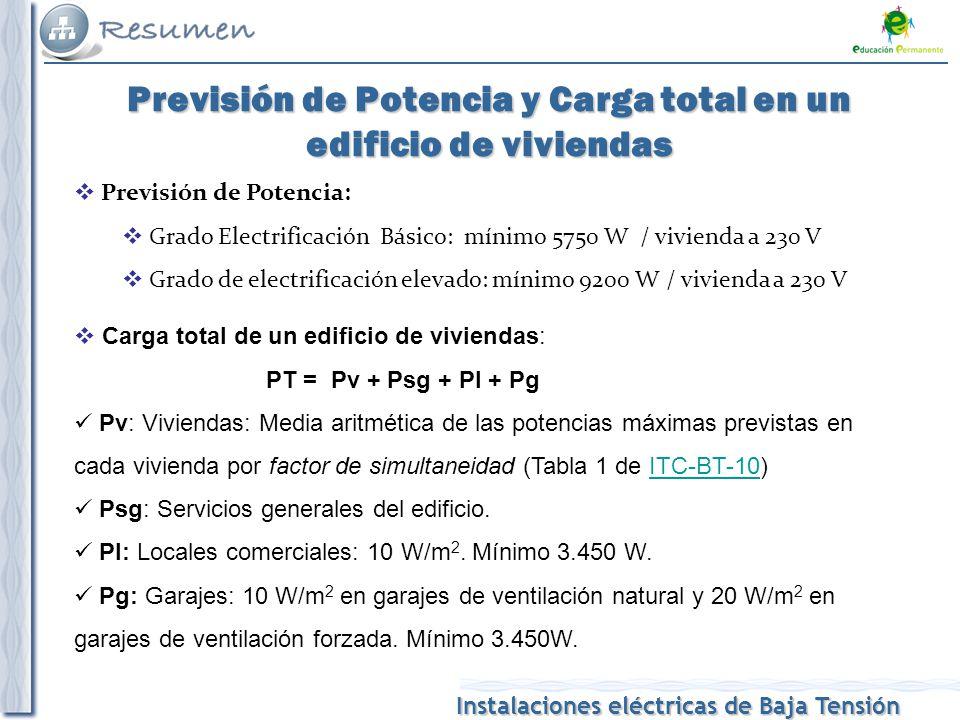 Instalaciones eléctricas de Baja Tensión Previsión de Potencia y Carga total en un edificio de viviendas Previsión de Potencia: Grado Electrificación