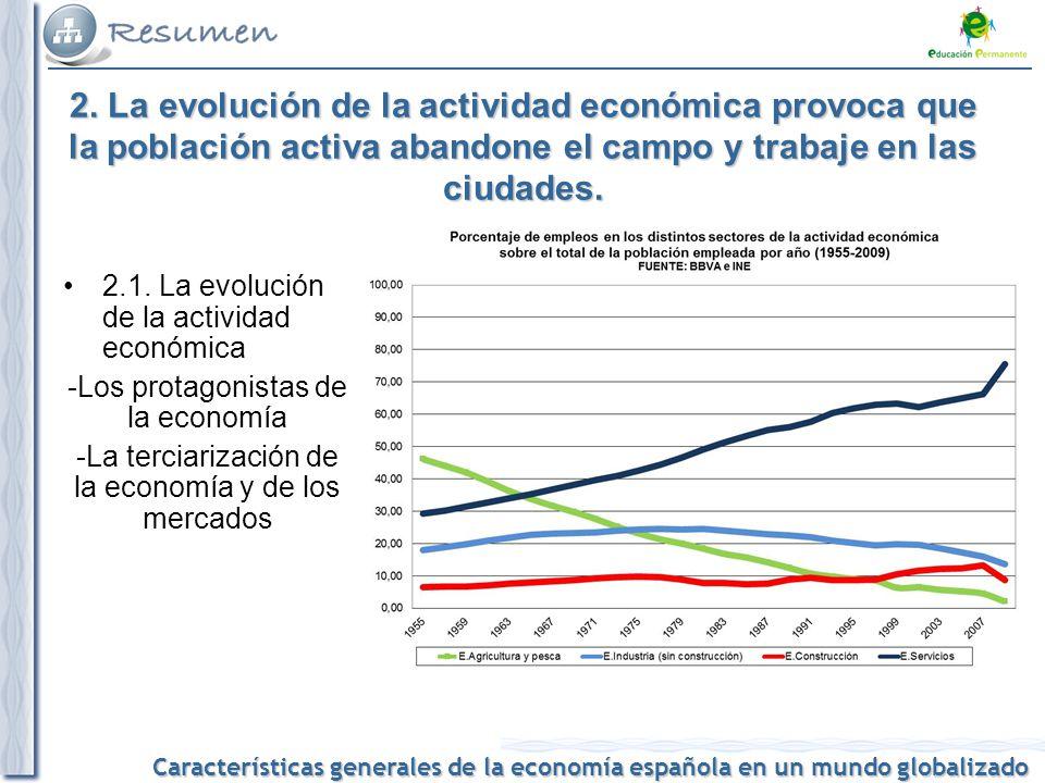 Características generales de la economía española en un mundo globalizado 2. La evolución de la actividad económica provoca que la población activa ab