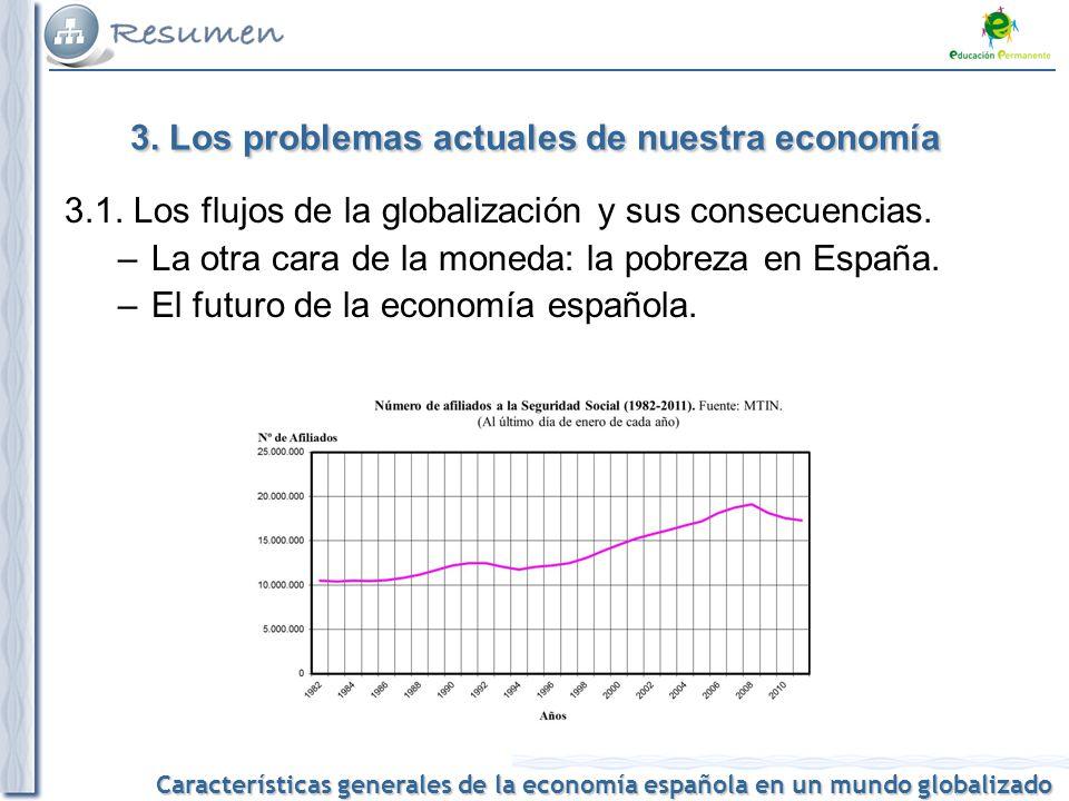 Características generales de la economía española en un mundo globalizado Los flujos de la globalización: mercancías y bienes, personas, finanzas, información.