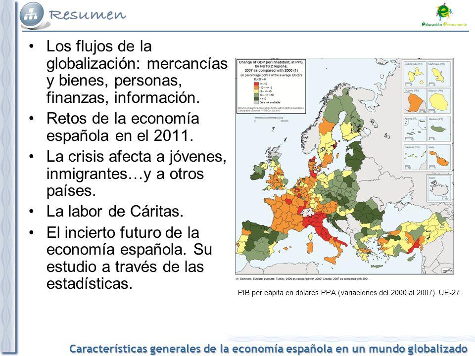 Características generales de la economía española en un mundo globalizado Los flujos de la globalización: mercancías y bienes, personas, finanzas, inf
