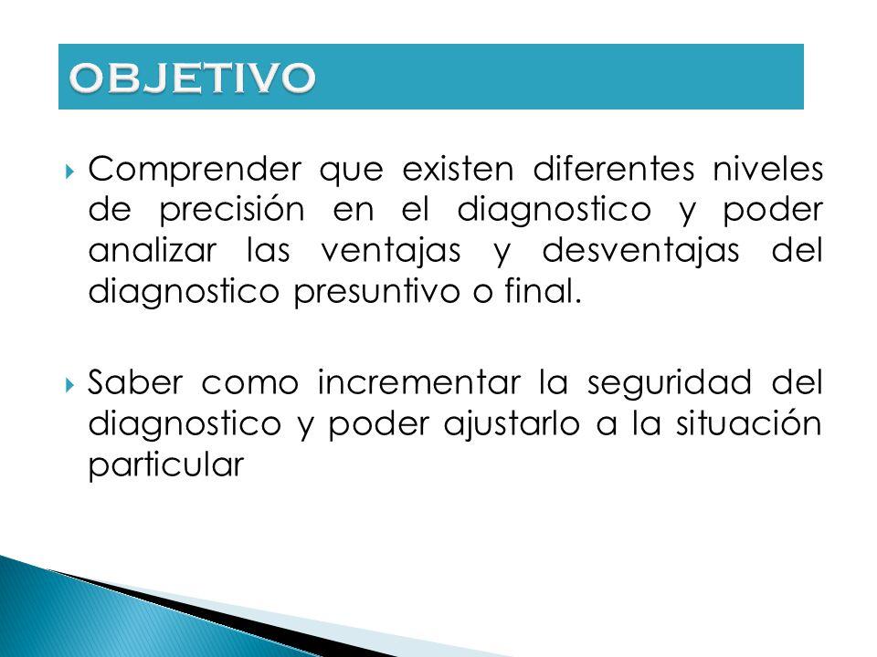 Comprender que existen diferentes niveles de precisión en el diagnostico y poder analizar las ventajas y desventajas del diagnostico presuntivo o final.