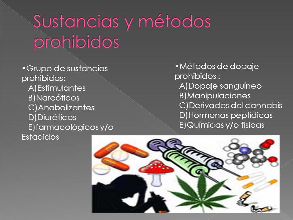 Grupo de sustancias prohibidas: A)Estimulantes B)Narcóticos C)Anabolizantes D)Diuréticos E)farmacológicos y/o Estacidos Métodos de dopaje prohibidos : A)Dopaje sanguíneo B)Manipulaciones C)Derivados del cannabis D)Hormonas peptídicas E)Químicas y/o físicas