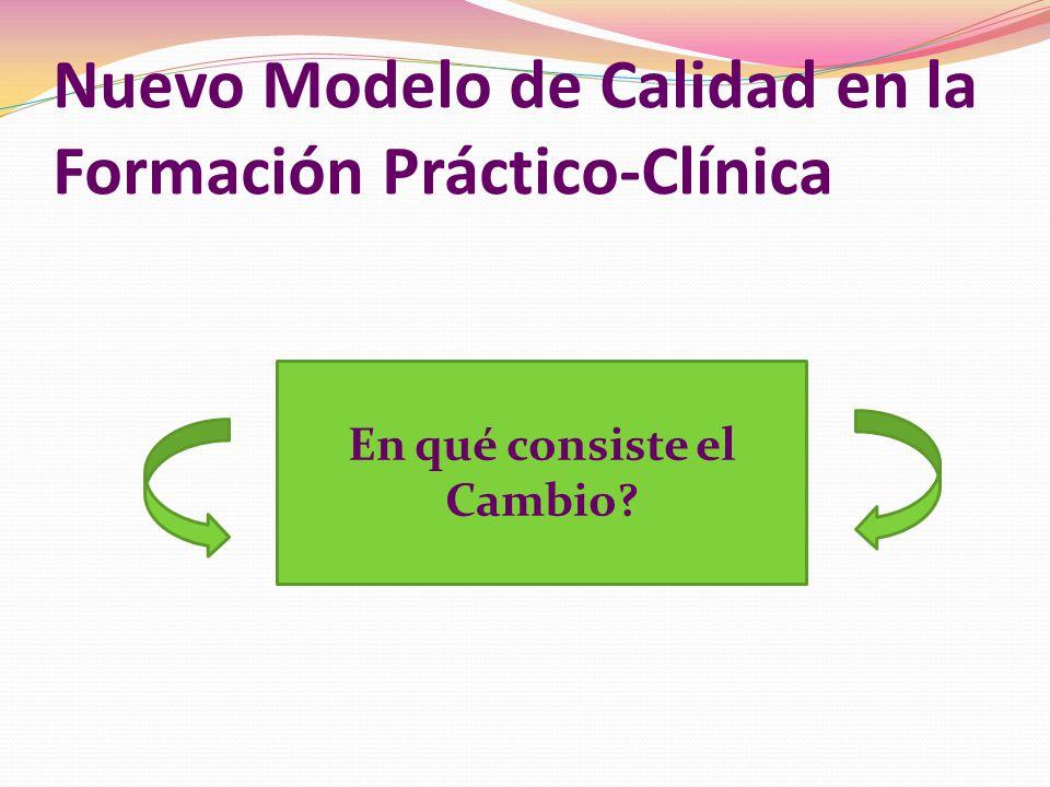 Nuevo Modelo de Calidad en la Formación Práctico-Clínica En qué consiste el Cambio?