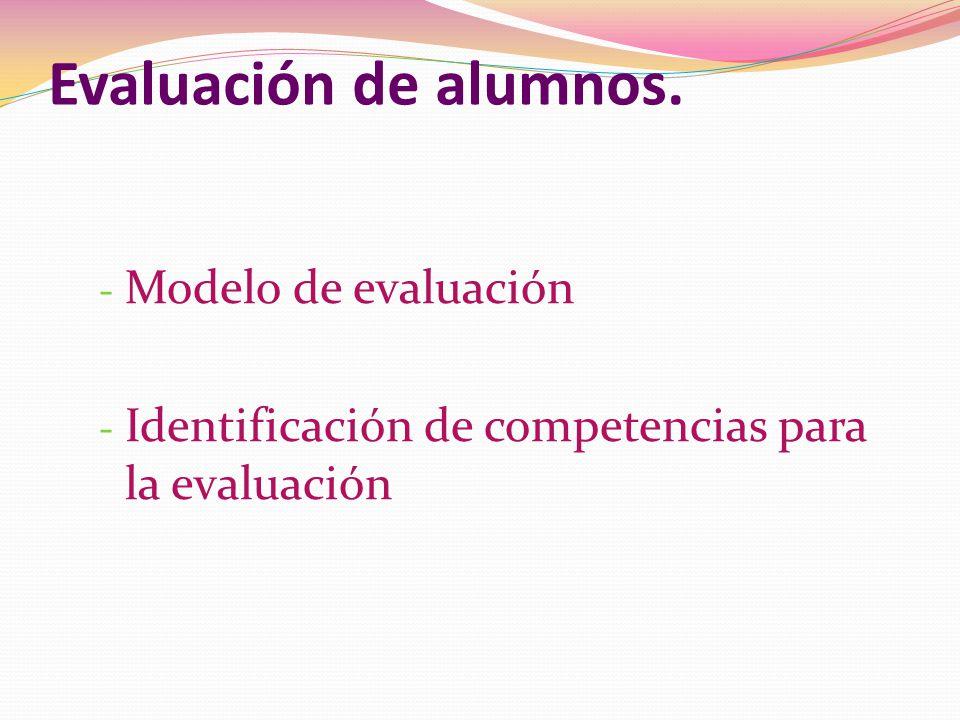 Evaluación de alumnos. - Modelo de evaluación - Identificación de competencias para la evaluación