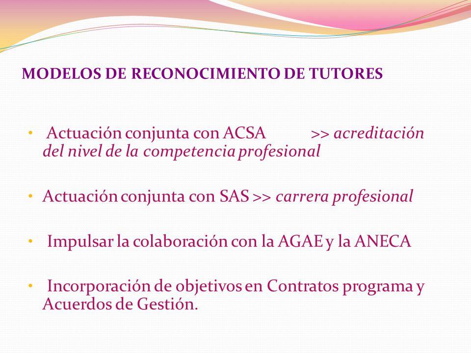 Actuación conjunta con ACSA >> acreditación del nivel de la competencia profesional Actuación conjunta con SAS >> carrera profesional Impulsar la colaboración con la AGAE y la ANECA Incorporación de objetivos en Contratos programa y Acuerdos de Gestión.