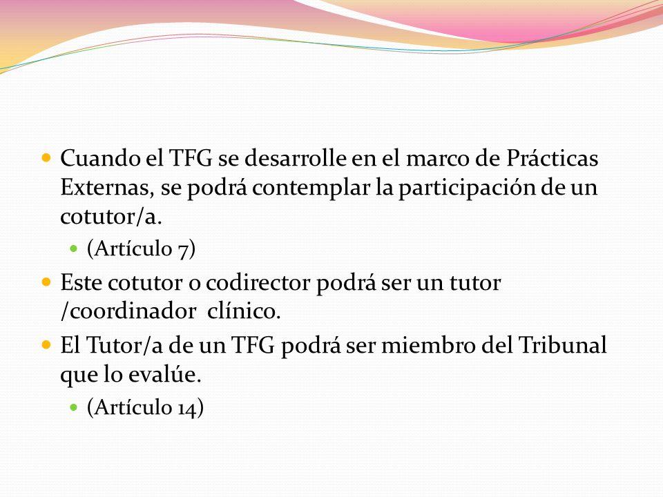 Cuando el TFG se desarrolle en el marco de Prácticas Externas, se podrá contemplar la participación de un cotutor/a.