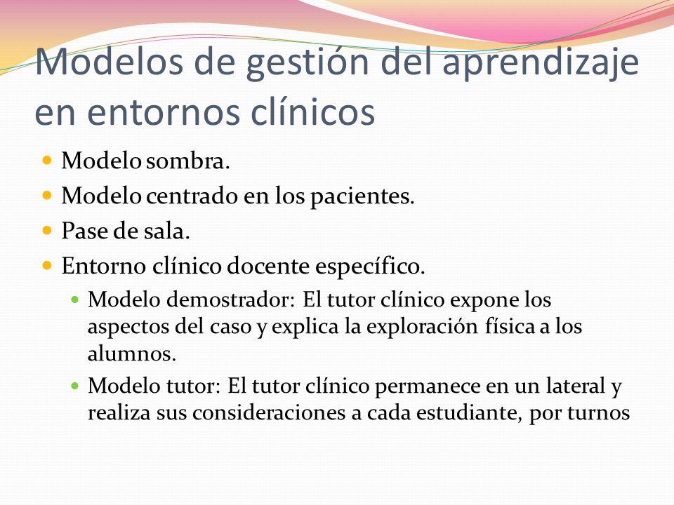 Modelos de gestión del aprendizaje en entornos clínicos Modelo sombra.