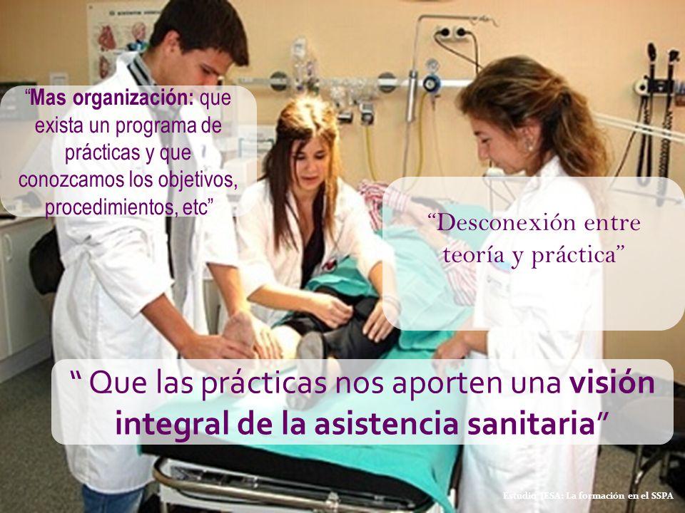 Mas organización: que exista un programa de prácticas y que conozcamos los objetivos, procedimientos, etc Que las prácticas nos aporten una visión integral de la asistencia sanitaria Desconexión entre teoría y práctica Estudio IESA: La formación en el SSPA