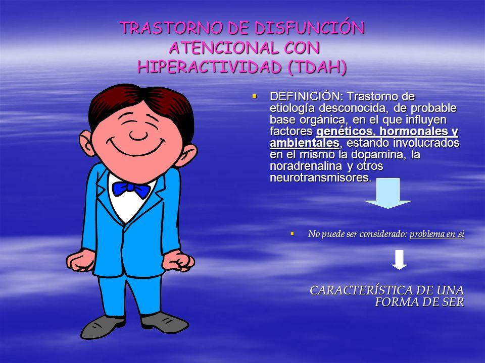 TRASTORNO DE DISFUNCIÓN ATENCIONAL CON HIPERACTIVIDAD (TDAH) DEFINICIÓN: Trastorno de etiología desconocida, de probable base orgánica, en el que infl