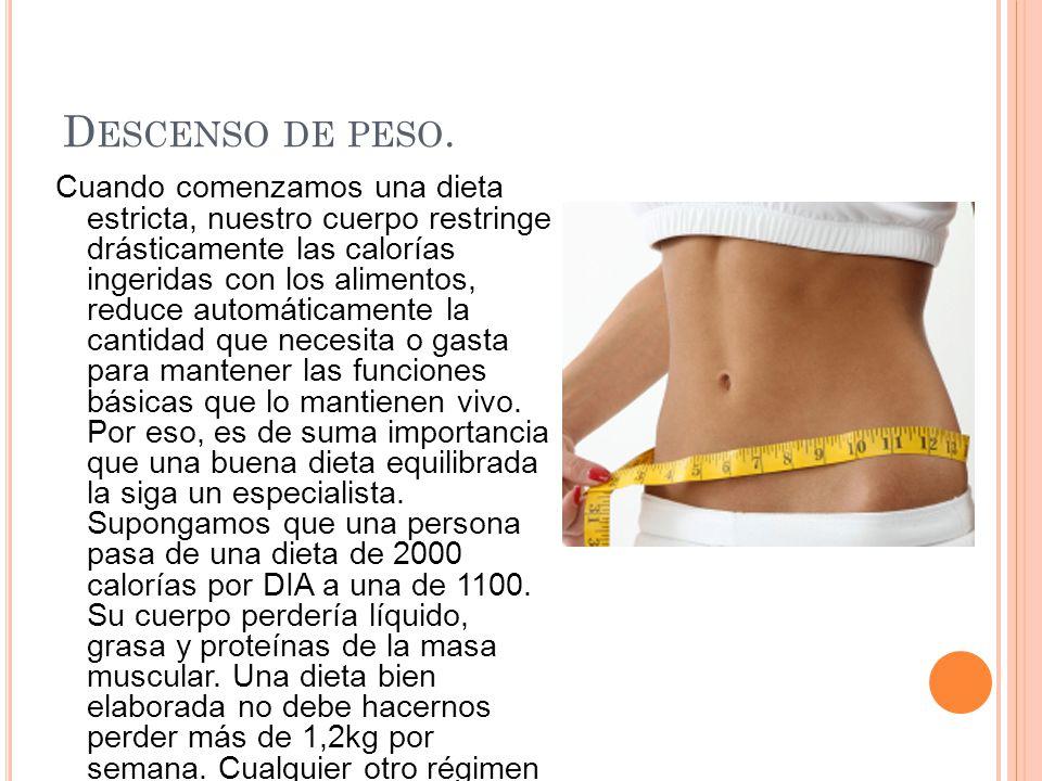 D ESCENSO DE PESO. Cuando comenzamos una dieta estricta, nuestro cuerpo restringe drásticamente las calorías ingeridas con los alimentos, reduce autom