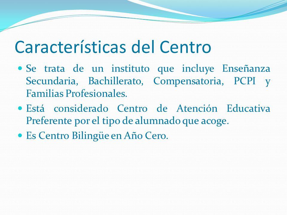 Características del Centro Se trata de un instituto que incluye Enseñanza Secundaria, Bachillerato, Compensatoria, PCPI y Familias Profesionales. Está