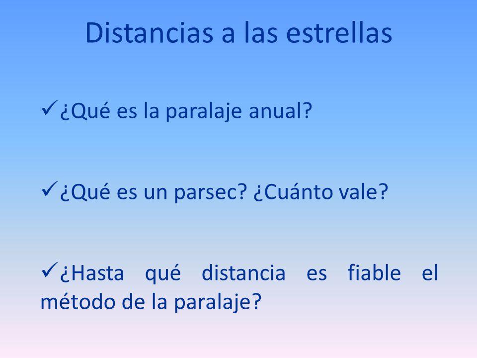 Distancias a las estrellas ¿Qué es la paralaje anual? ¿Qué es un parsec? ¿Cuánto vale? ¿Hasta qué distancia es fiable el método de la paralaje?