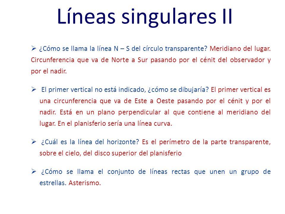 Líneas singulares II ¿Cómo se llama la línea N – S del círculo transparente.