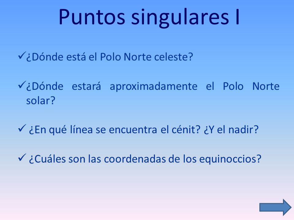 Puntos singulares I ¿Dónde está el Polo Norte celeste? ¿Dónde estará aproximadamente el Polo Norte solar? ¿En qué línea se encuentra el cénit? ¿Y el n