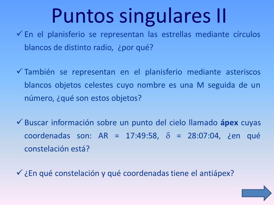 Puntos singulares II En el planisferio se representan las estrellas mediante círculos blancos de distinto radio, ¿por qué? También se representan en e