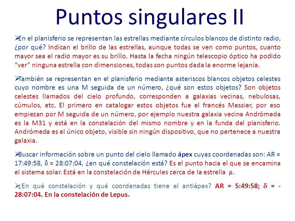 Puntos singulares II En el planisferio se representan las estrellas mediante círculos blancos de distinto radio, ¿por qué? Indican el brillo de las es