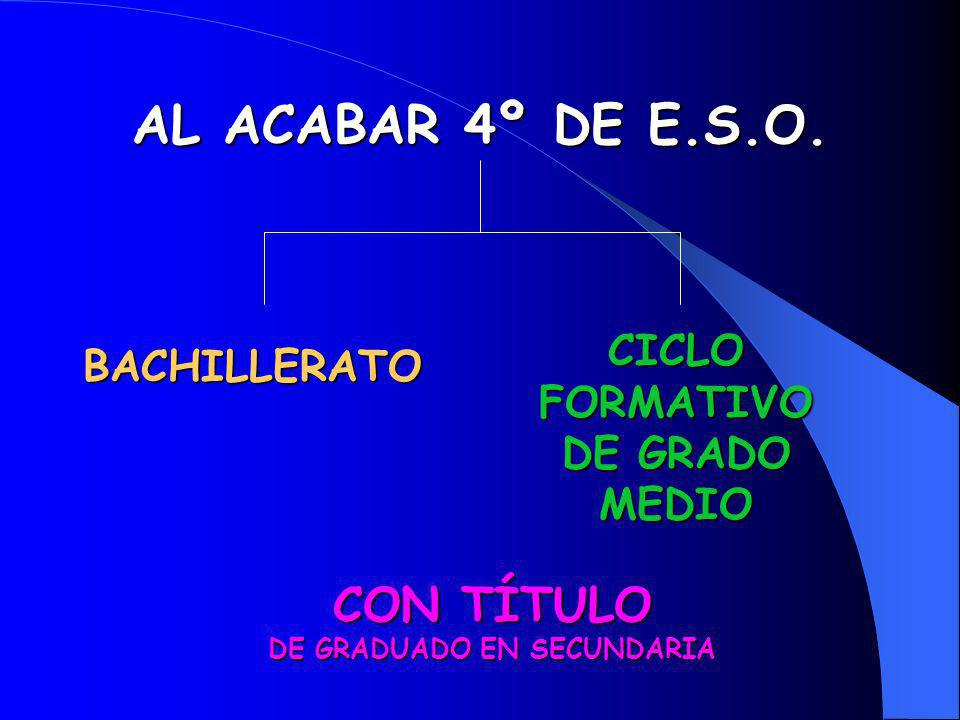 AL ACABAR 4º DE E.S.O. BACHILLERATO CICLO FORMATIVO DE GRADO MEDIO CON TÍTULO DE GRADUADO EN SECUNDARIA