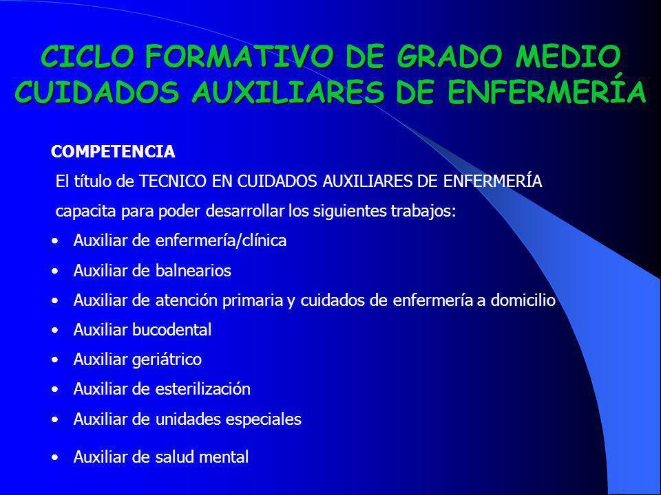 CICLO FORMATIVO DE GRADO MEDIO CUIDADOS AUXILIARES DE ENFERMERÍA COMPETENCIA El título de TECNICO EN CUIDADOS AUXILIARES DE ENFERMERÍA capacita para p