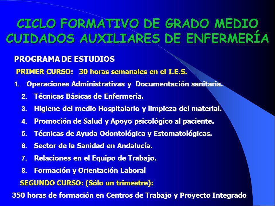 CICLO FORMATIVO DE GRADO MEDIO CUIDADOS AUXILIARES DE ENFERMERÍA PROGRAMA DE ESTUDIOS PRIMER CURSO: 30 horas semanales en el I.E.S. 1. Operaciones Adm