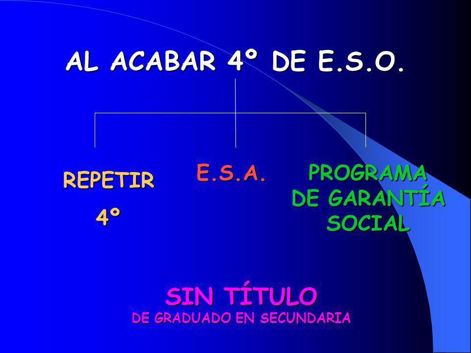 AL ACABAR 4º DE E.S.O. REPETIR4º PROGRAMA DE GARANTÍA SOCIAL SIN TÍTULO DE GRADUADO EN SECUNDARIA E.S.A.
