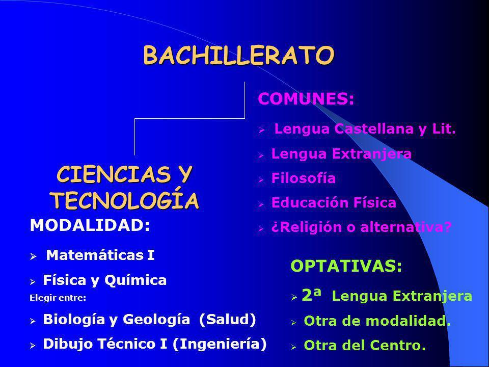 BACHILLERATO CIENCIAS Y TECNOLOGÍA COMUNES: Lengua Castellana y Lit. Lengua Extranjera Filosofía Educación Física ¿Religión o alternativa? MODALIDAD: