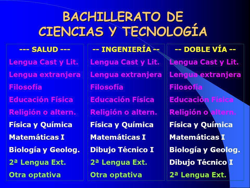 BACHILLERATO DE CIENCIAS Y TECNOLOGÍA --- SALUD --- Lengua Cast y Lit. Lengua extranjera Filosofía Educación Física Religión o altern. Física y Químic