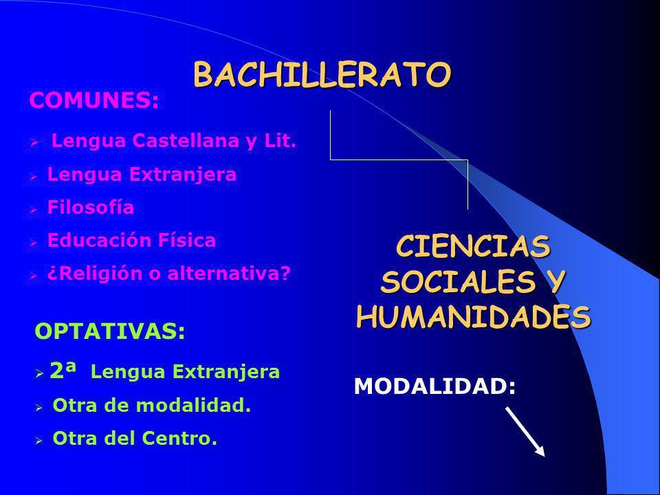 BACHILLERATO CIENCIAS SOCIALES Y HUMANIDADES COMUNES: Lengua Castellana y Lit. Lengua Extranjera Filosofía Educación Física ¿Religión o alternativa? O