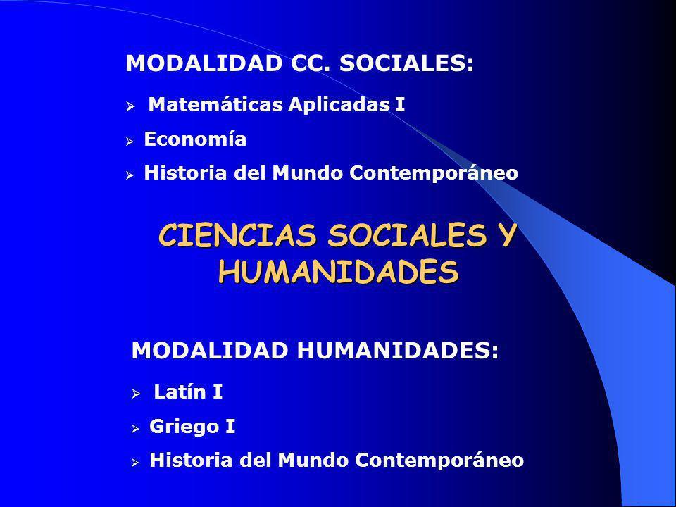 MODALIDAD CC. SOCIALES: Matemáticas Aplicadas I Economía Historia del Mundo Contemporáneo MODALIDAD HUMANIDADES: Latín I Griego I Historia del Mundo C