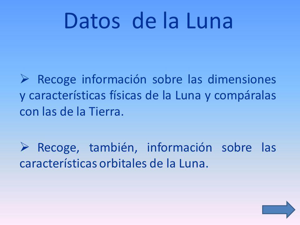 Datos físicos de la Luna y Tierra