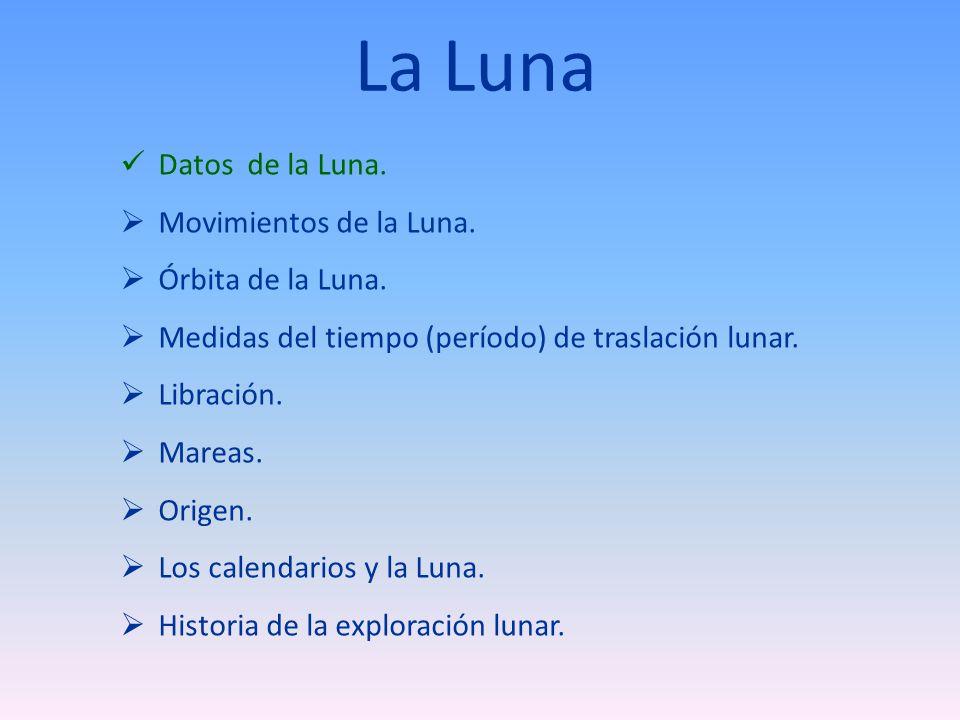 Movimientos de la Luna ¿Cuánto vale el período de rotación de la luna.