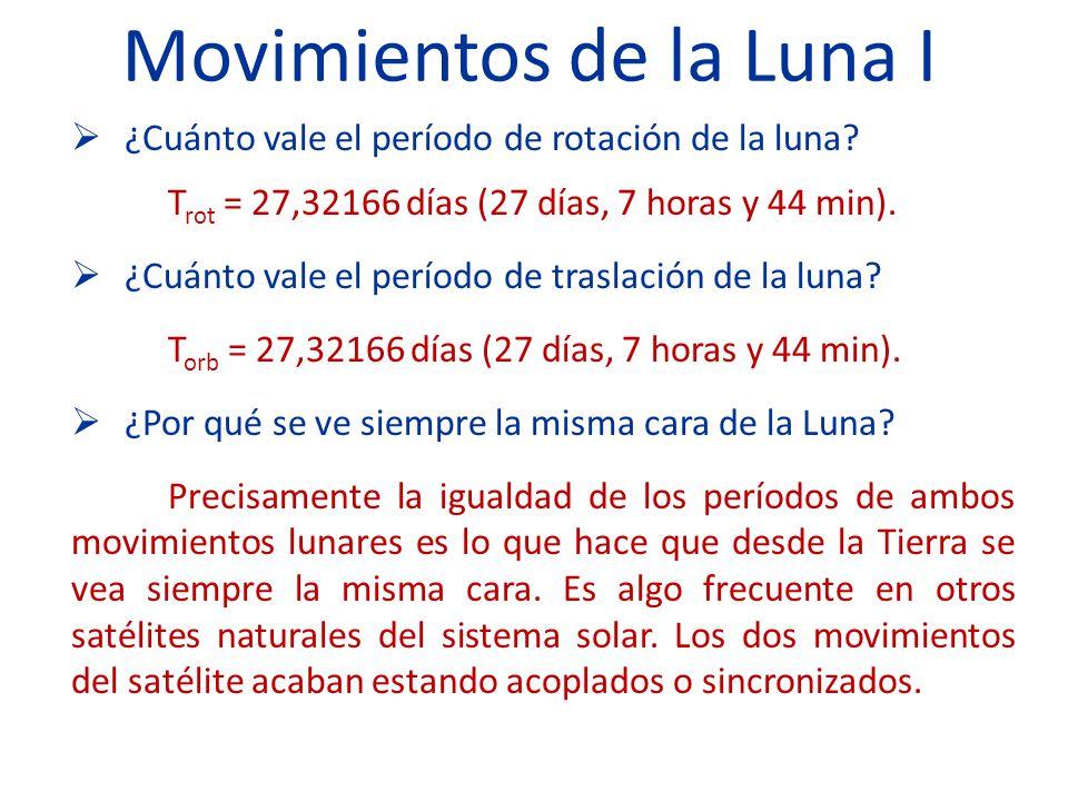 Movimientos de la Luna I ¿Cuánto vale el período de rotación de la luna.