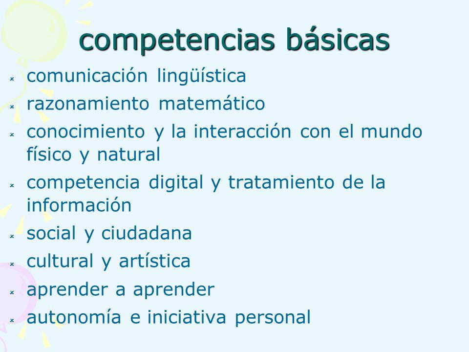 competencias básicas comunicación lingüística razonamiento matemático conocimiento y la interacción con el mundo físico y natural competencia digital