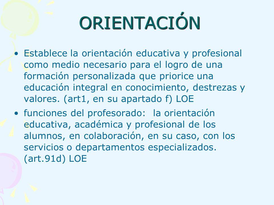 ORIENTACIÓN ORIENTACIÓN Establece la orientación educativa y profesional como medio necesario para el logro de una formación personalizada que prioric