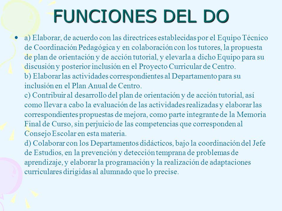 FUNCIONES DEL DO a) Elaborar, de acuerdo con las directrices establecidas por el Equipo Técnico de Coordinación Pedagógica y en colaboración con los t