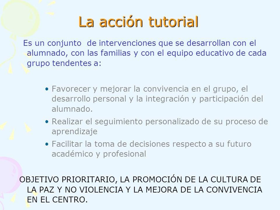 La acción tutorial Es un conjunto de intervenciones que se desarrollan con el alumnado, con las familias y con el equipo educativo de cada grupo tende
