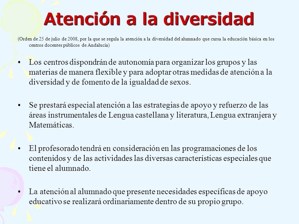Atención a la diversidad (Orden de 25 de julio de 2008, por la que se regula la atención a la diversidad del alumnado que cursa la educación básica en