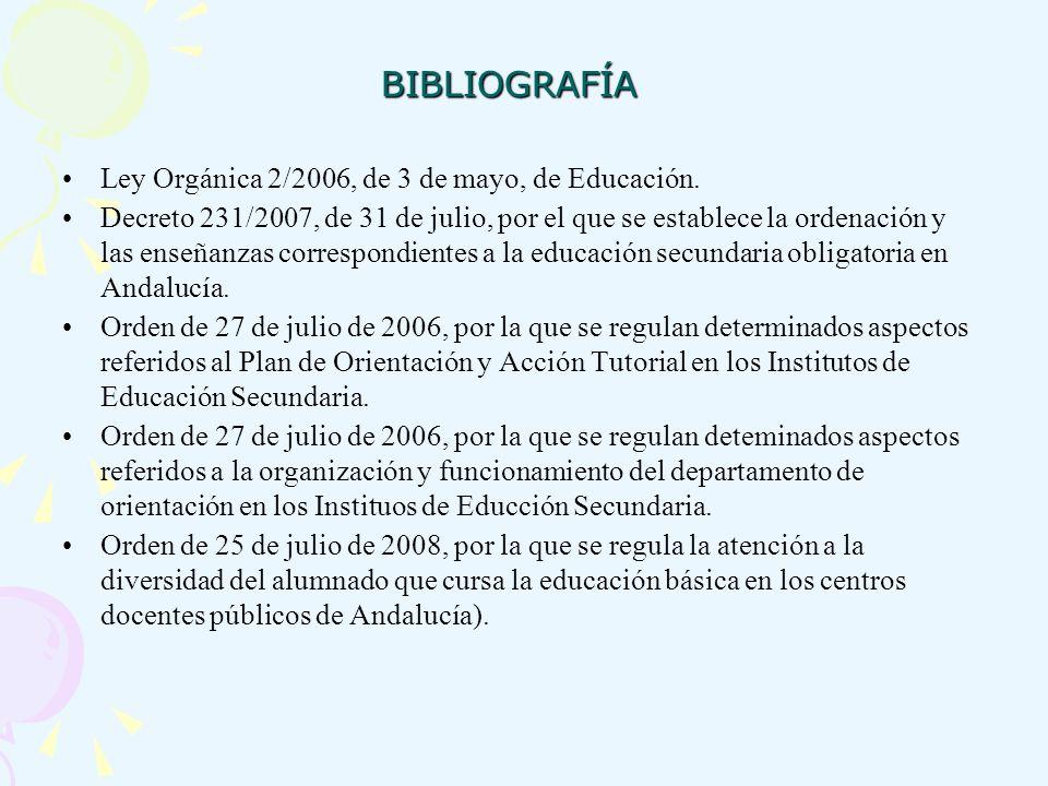 BIBLIOGRAFÍA Ley Orgánica 2/2006, de 3 de mayo, de Educación. Decreto 231/2007, de 31 de julio, por el que se establece la ordenación y las enseñanzas