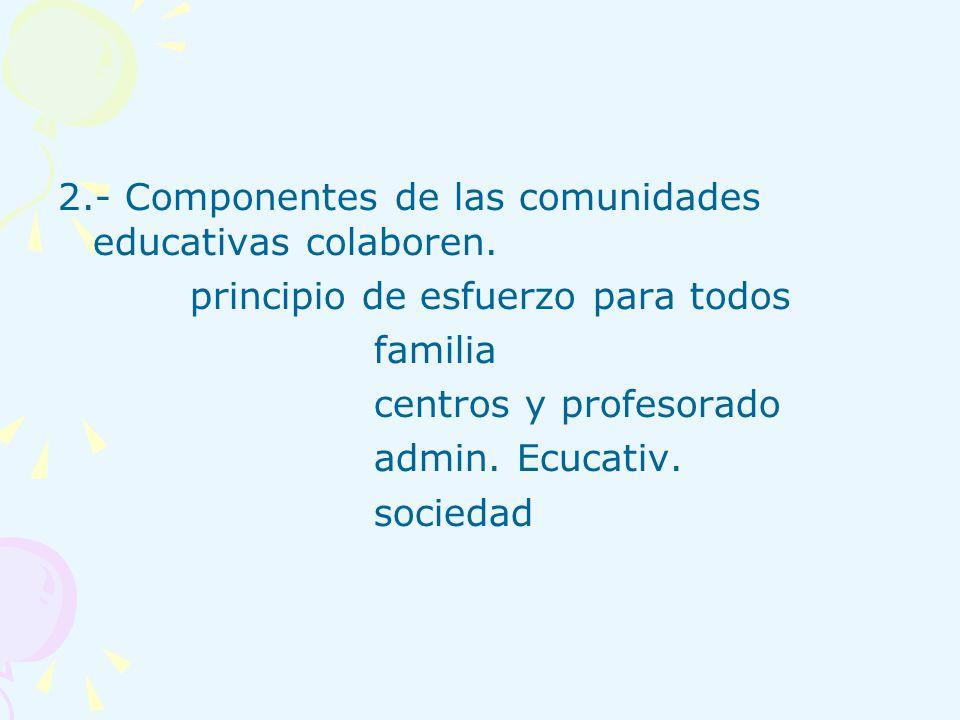 2.- Componentes de las comunidades educativas colaboren. principio de esfuerzo para todos familia centros y profesorado admin. Ecucativ. sociedad