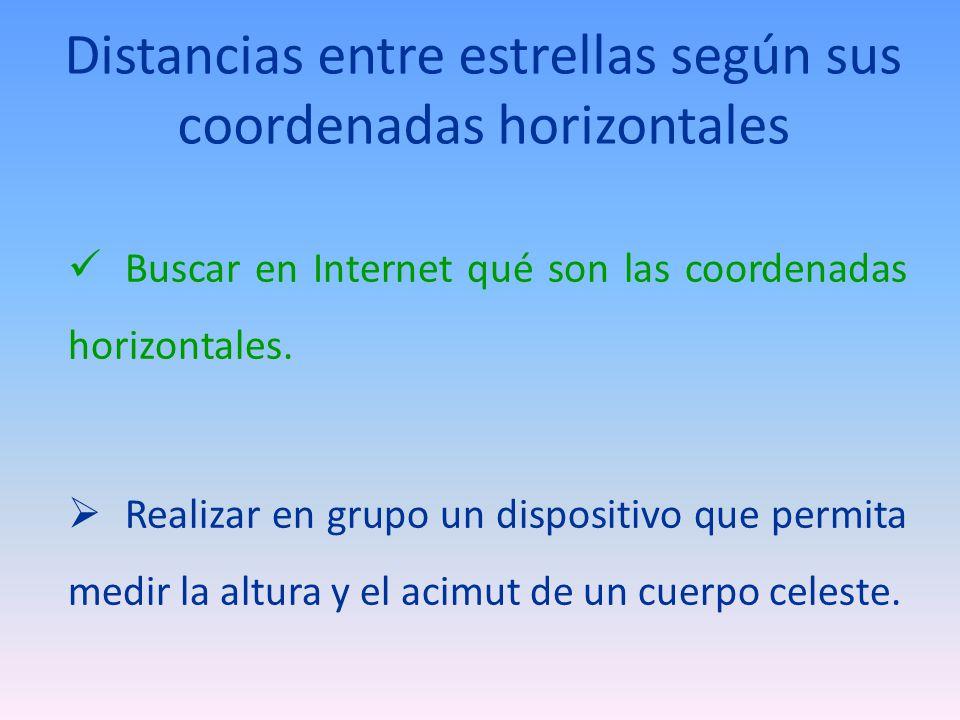 Distancias entre estrellas según sus coordenadas horizontales Buscar en Internet qué son las coordenadas horizontales. Realizar en grupo un dispositiv