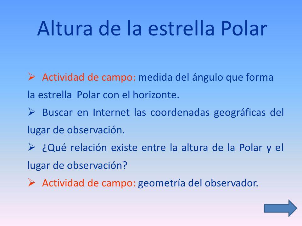 Altura de la estrella Polar Actividad de campo: medida del ángulo que forma la estrella Polar con el horizonte. Buscar en Internet las coordenadas geo