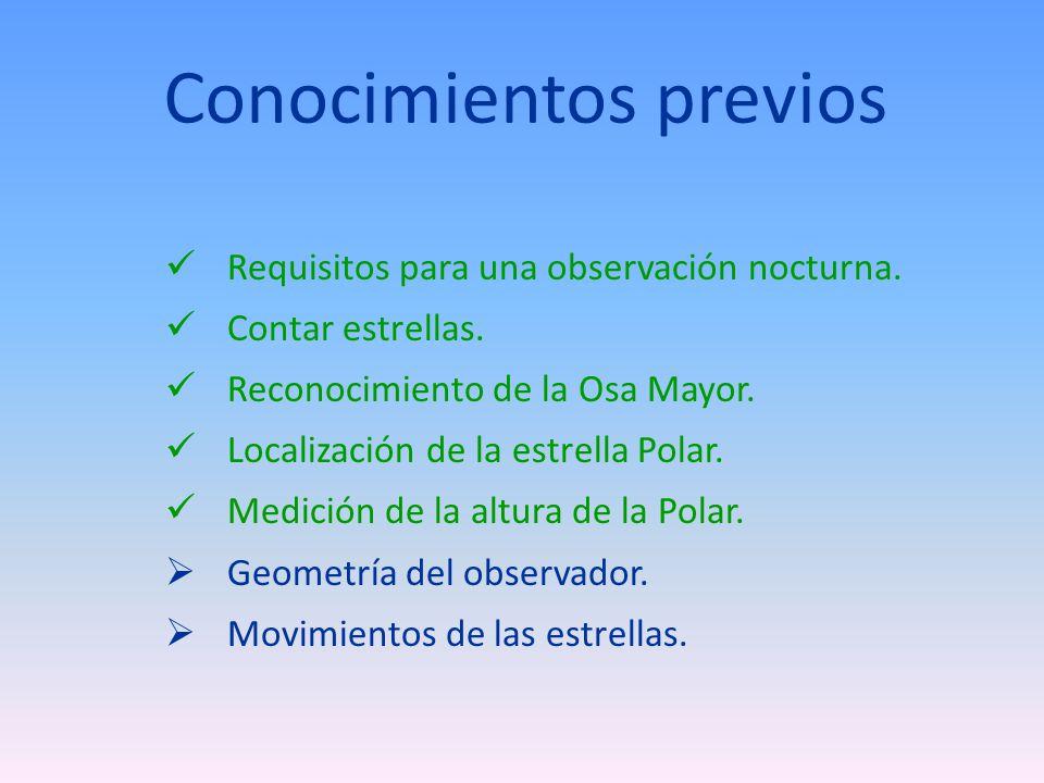 Conocimientos previos Requisitos para una observación nocturna.