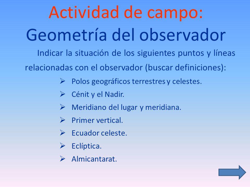 Actividad de campo: Geometría del observador Indicar la situación de los siguientes puntos y líneas relacionadas con el observador (buscar definiciones): Polos geográficos terrestres y celestes.