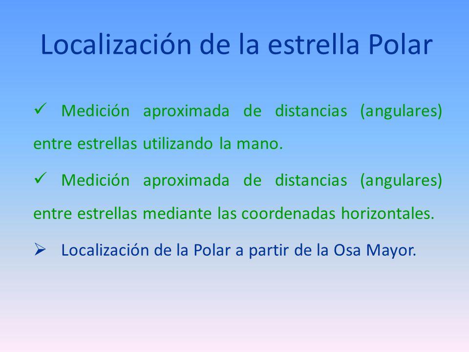 Localización de la estrella Polar Medición aproximada de distancias (angulares) entre estrellas utilizando la mano. Medición aproximada de distancias